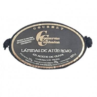 Lata de 111 g de láminas de Atún Rojo en Aceite de Oliva Cambados en Salazones Diego