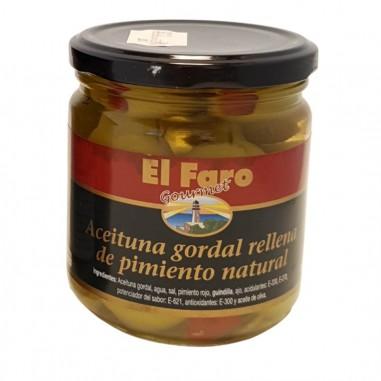 Bote de 350 g de Aceituna Gordal Rellena de Pimiento El Faro Gourmet
